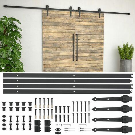 Schiebetür-Beschlagsatz 2x183 cm Stahl Schwarz
