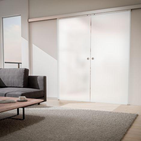 Schiebetür doppelflügelig Glas Tür satiniert 1760x2035 Zimmertür Glasschiebetür