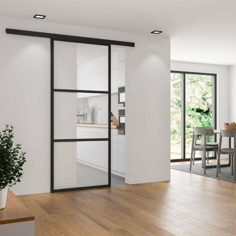 Schiebetür Glas Tür Glasschiebetür gerahmt schwarz klarglas 1025x2200 Nischentür