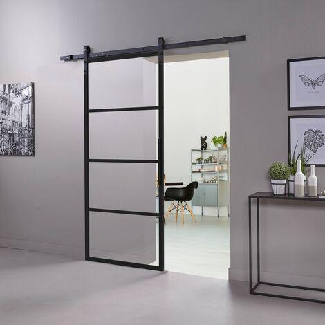 Schiebetür mit Schiebetürsystem DIY Set schwarz matt eloxiert Aluminiumrahmen Glaseinsatz