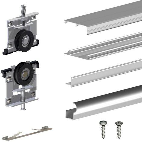 Schiebetürbeschlag ARES3 Gold für 16 mm Türstärke, Schiene 1,80 m, 2 Türen bis 70 kg