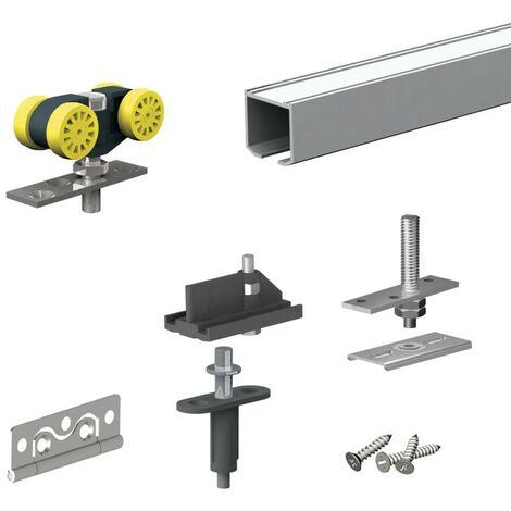 Schiebetürbeschlag HERKULES PLUS 25 kg, für Falttüren, 2 Paneelen, Schiene 1,20 m