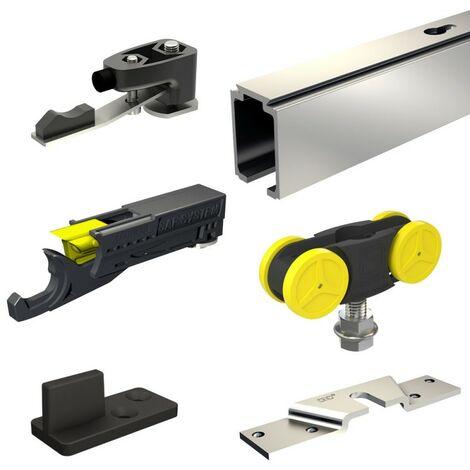Schiebetürbeschlag SLID'UP 1000 mit hydraulischem Stopper, Laufschiene 295 cm, 1 Tür bis 80 kg, für Durchgangstüren