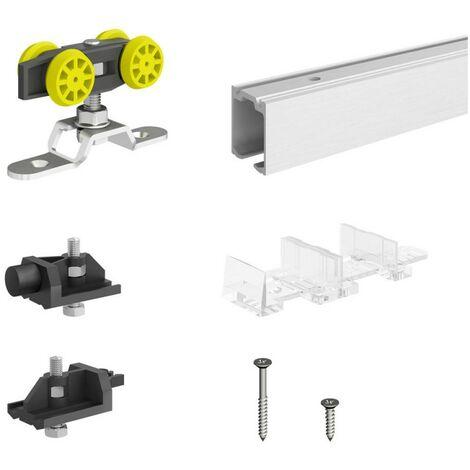 Schiebetürbeschlag SLID'UP 160, Laufschiene 150 cm, 1 Tür bis 60 kg, für Durchgangstüren, Holztüren