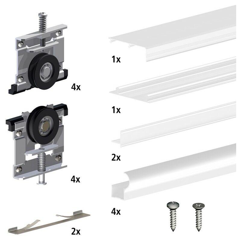 Schiebetürsystem für 4 Möbeltüren 4 x 15 kg inklusive unteren  Führungsschienen