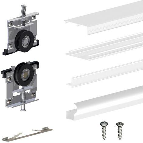 Schiebetürbeschlag SLID'UP 220, 180 cm, 18 mm, 2 Türen bis 70 kg, weiß, für Schränke, Kleiderschränke, Wandschränke