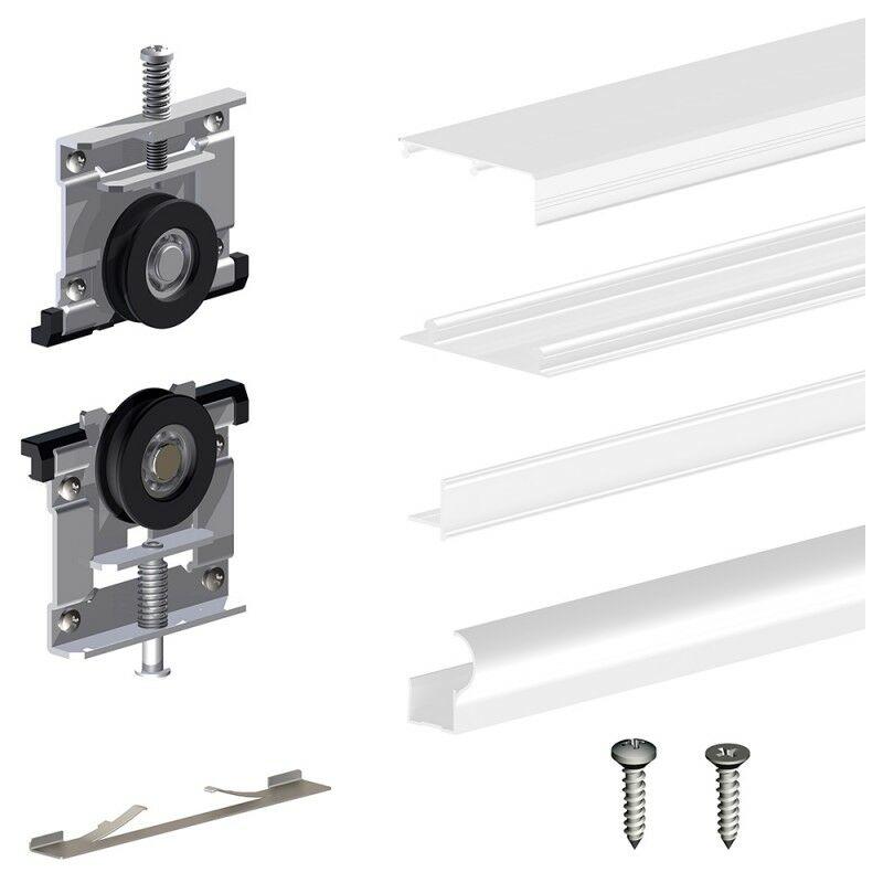 Schiebetürbeschlag SLID'UP 220, 270 cm, 18 mm, 3 Türen bis 70 kg, weiß, für Schränke, Kleiderschränke, Wandschränke - SLID'UP BY MANTION