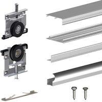 Schiebetürbeschlag SLID'UP 230, 180 cm, 19 mm, 2 Türen bis 70 kg, silber, für Schränke, Kleiderschränke, Wandschränke