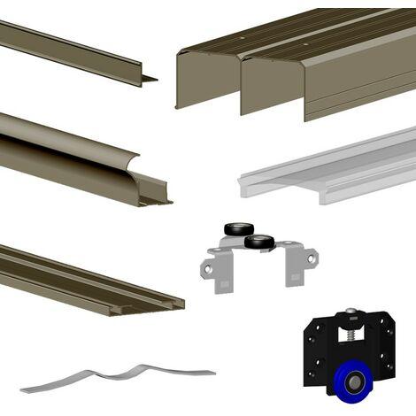 Schiebetürbeschlag SLID'UP 280, Laufschiene 200 cm, für 2 Türen mit 18 mm Türstärke, bis 50 kg, olive