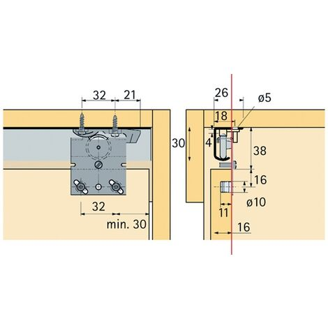 Schiebetürbeschlag Top Line 27 2-türig Komplett-Set 25kg DIN L/R Hettich