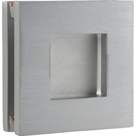 Schiebetürmuschelpaar 6405 für Glas, eckig, Glasstärke 8 - 10 mm,silber eloxiert