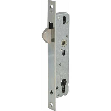 Schiebetürschloss mit Hakenfalle, PZW, DM 30, VK 8 mm, eckig, silber verzinkt