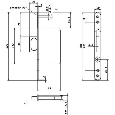Schiebetürschloss mit Stirngriff 117 x 75 x 15,5 mm, rund, Edelstahl