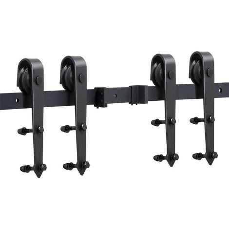 Schiebetürsystem Laufschiene Schiebetüren Komplettset Schiebetürbeschlag 2 Türen mit Abstandshalter Montage-Set 396 cm (13ft)