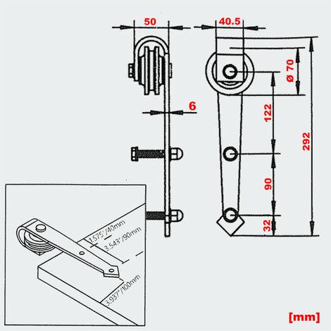 Schiebetürsystem Schiebetürbeschlag 183 cm max. 90 kg Montage-Set