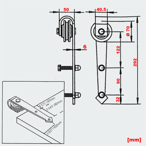 Schiebetürsystem Schiebetürbeschlag für 2 Türen 366 cm max. 150 kg