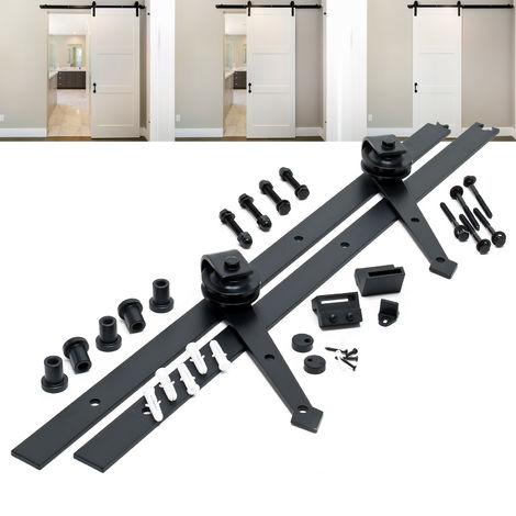 Schiebetürsystem Schiebetürbeschlag mit 183 cm Laufschiene für Tür bis max. 90kg