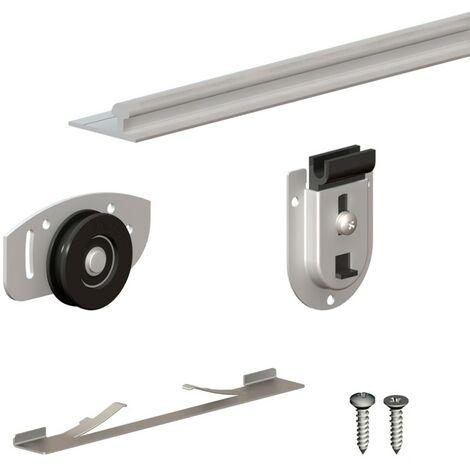 Schiebetürbeschlag SLID'UP 130, Laufschiene 150 cm, 2 Türen bis je 70 kg, für Schränke, Kleiderschränke, Wandschränke