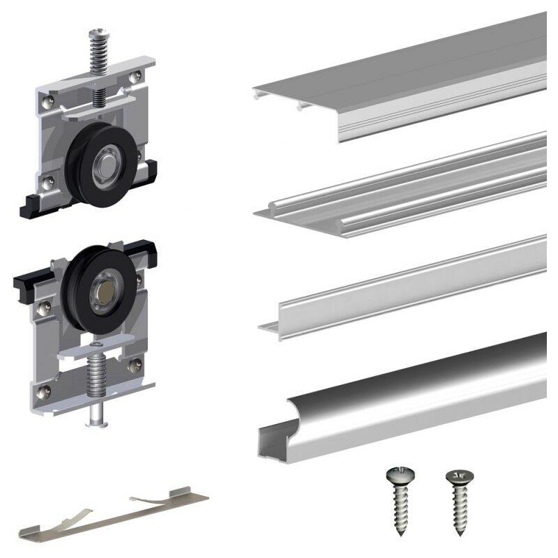 Schiebetürbeschlag SLID'UP 210, 270 cm, 16 mm, 3 Türen bis 70 kg, silber, für Schränke, Kleiderschränke, Wandschränke - SLID'UP BY MANTION