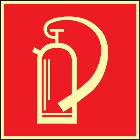 Schild Feuerlöscher 148x148mm Kunststoff rot/weiß nachleuchtend