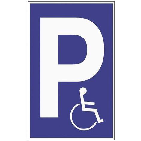 Schild Parken für Behinderte B.250xH.400mm Kunststoff blau/weiß