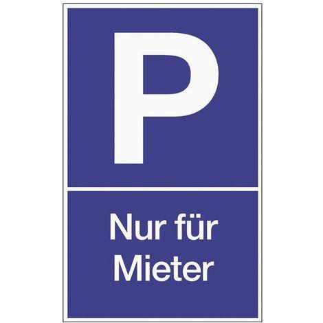 Schild Parken für Mieter B.250xH.400mm Kunststoff blau/weiß