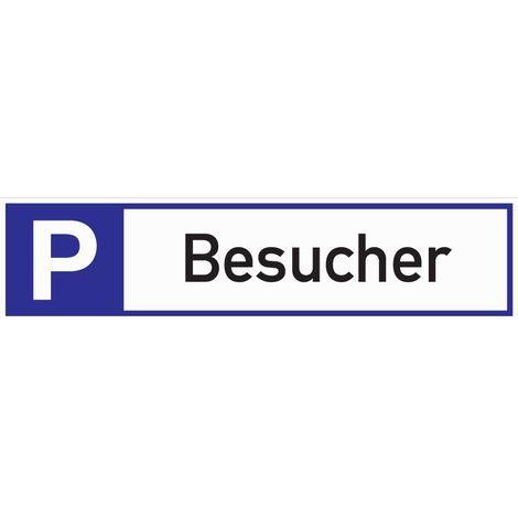 Schild Parkplatz für Besucher 460x110x2mm Aluminium weiß/blau/schwarz