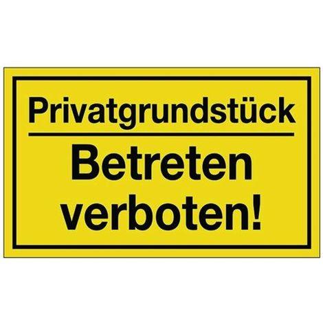 Schild Privatgrundstück B.250xH.150mm Kunststoff gelb/schwarz