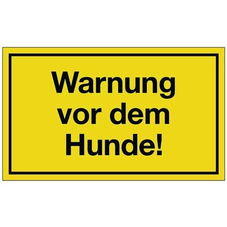 Schild Warnung vor dem Hunde B.250xH.150mm Kunststoff gelb/schwarz