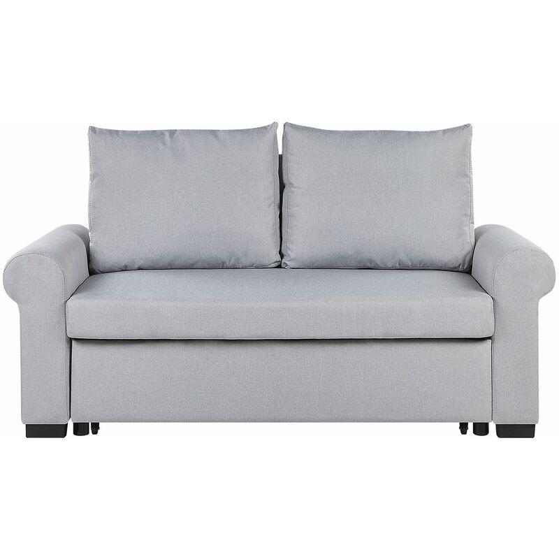 Beliani - Schlafsofa Grau Polyester 2-Sitzer Schlaffunktion Pflegelleicht Schlafzimmer