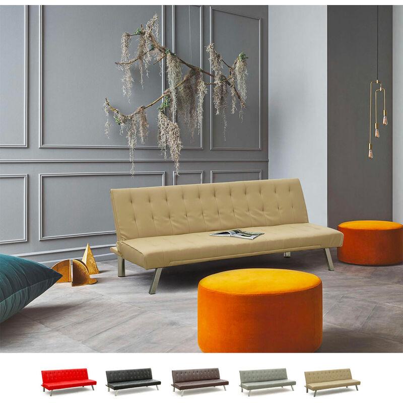 Schlafsofa 3-Sitzer Sofabett Couch Klappsofa Kunstleder Zaffiro | Farbe: Beige