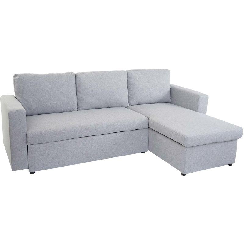 Schlafsofa 739, Couch Ecksofa Sofa, Schlaffunktion 220x152cm Stoff/Textil ~ hellgrau, ohne Deko-Kissen - HHG