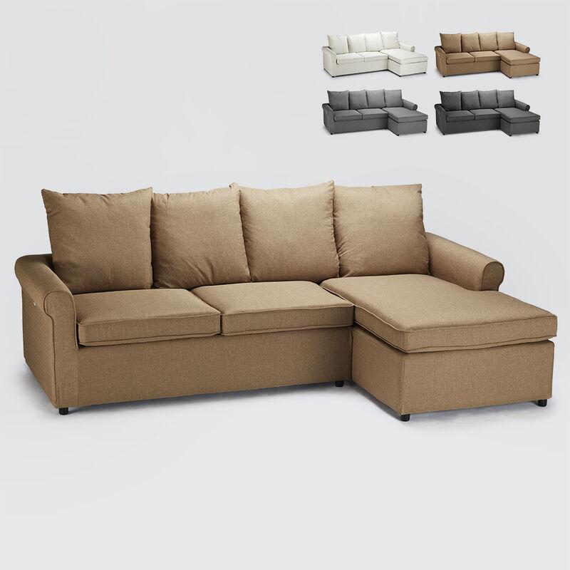 Schlafsofa mit 2-Sitzer-Ecksofa mit Modernem Abnehmbarem Bezug Lapislazzuli Plus | Farbe: Beige - MODUS SOFÀ