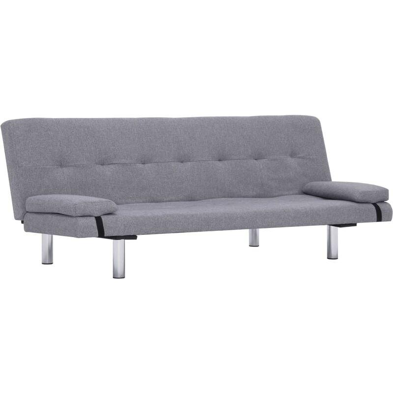 Schlafsofa mit zwei Kissen Polyester Hellgrau - VIDAXL