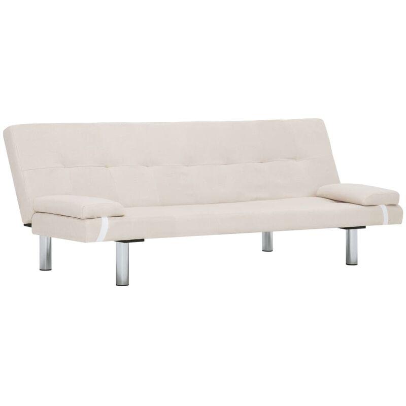 Schlafsofa mit zwei Kissen Polyester Creme - VIDAXL