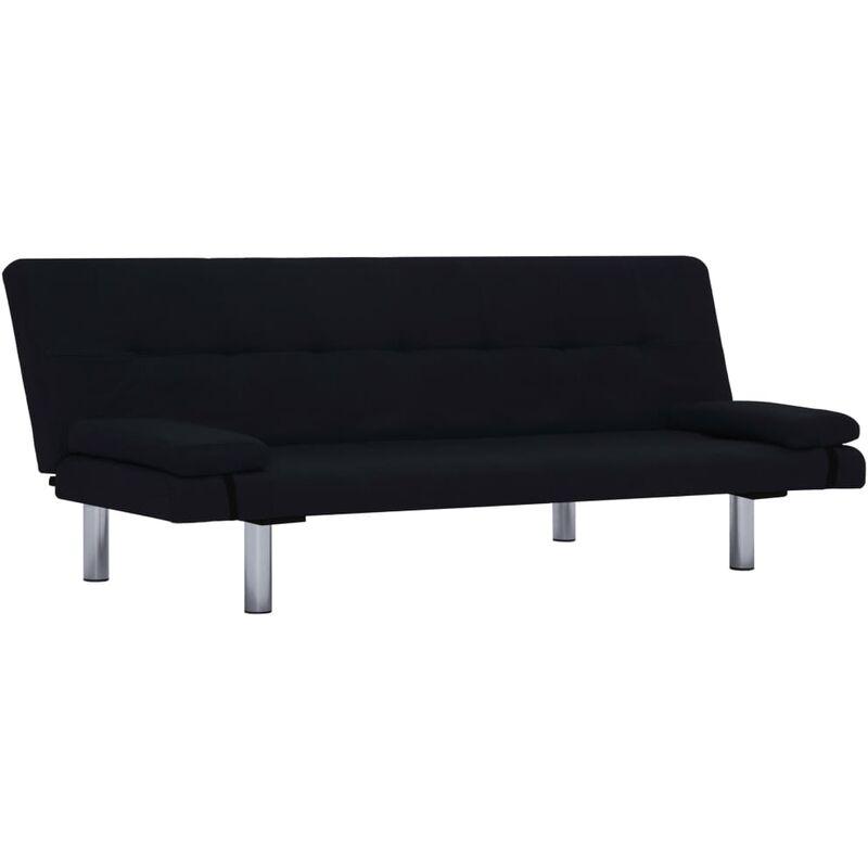 Schlafsofa mit zwei Kissen Polyester Schwarz - VIDAXL