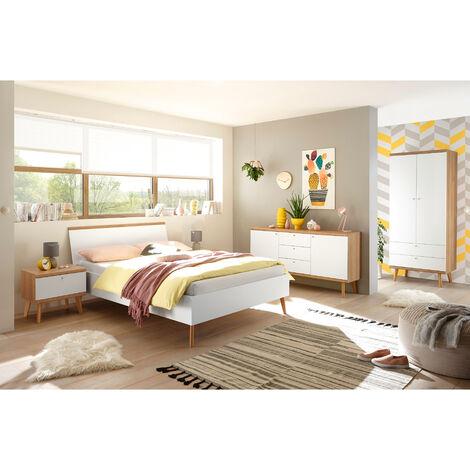 Schlafzimmer Jugendzimmer Komplettset MAINZ-61 im Scandi-Look, weiß matt mit Eiche Riviera