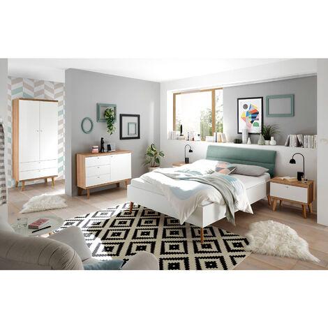 Schlafzimmer Jugendzimmer Komplettset MAINZ-61, weiß matt, Eiche Riviera und mint grün, skandinavischer Stil