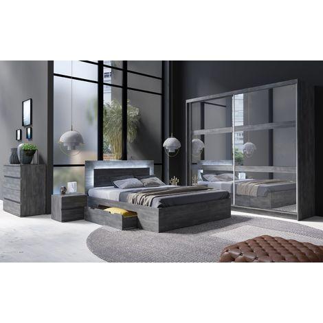Schlafzimmer Komplett - Set Kamatero, 4-teilig, Grau