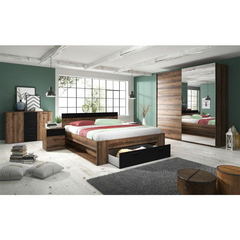 Fun Moebel - Schlafzimmer Set 5 tlg ASKJA inkl.Doppelbett 160cm und Schrank 180cm
