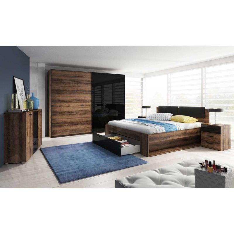 Fun Moebel - Schlafzimmer Set 5 tlg DANTOS inkl.Doppelbett 160cm und Schrank 200cm