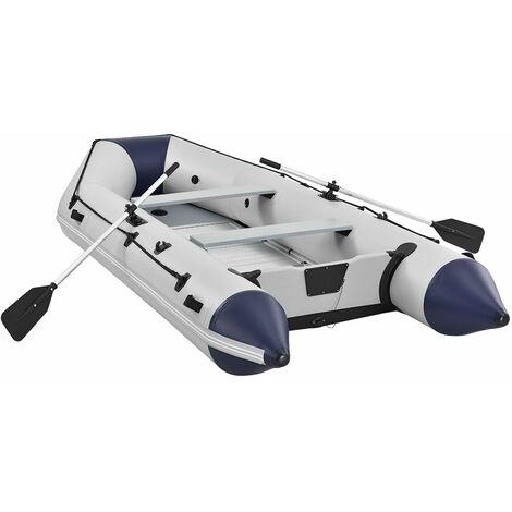 Schlauchboot 3,80 m – mit 2 Sitzbänken, Aluboden, Luftpumpe, Reparaturset und Paddel - Aufblasbares Ruderboot in Grau – PVC | ArtSport