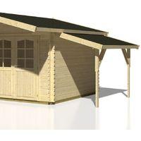Schleppdach Cornus C2 naturbelassen - 44 x 95 mm Pfostenstärke, Grundfläche: 4,30 m², Pultdach