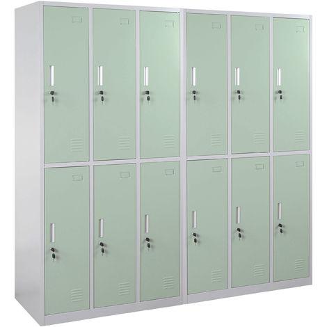 Schließfach Preston T829, Schließfachschrank Wertfachschrank Spind, Metall 12 Fächer ~ grün