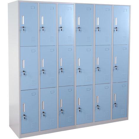Schließfach Preston T829, Schließfachschrank Wertfachschrank Spind, Metall 9 Fächer, blau