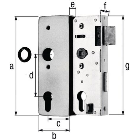Schlosskasten 140U DIN L//R Maß A34xB94xC172mm Dornm.60mm AMF