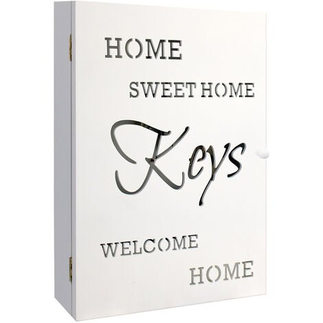 """Schlüsselkasten Holzkasten """"HOME SWEET HOME"""" in Weiss 22x7x32cm 6 Schlüsselhaken Aufbewahrungsnische - Schlüsselbox Schlüsselbrett Schlüsselschrank"""