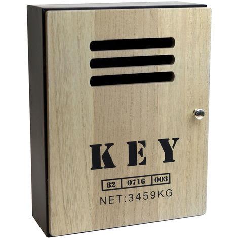 """Schlüsselkasten """"Key"""" Metallkorpus, Holztür, Magnetverschluß, 8 Haken, 23,5x30,5x10,5cm, Schwarz/Natur"""