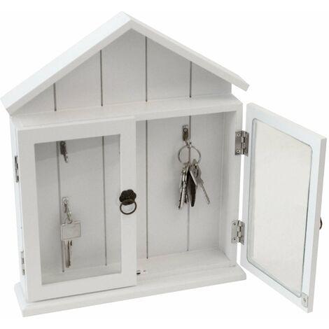 Schlüsselkasten mit 2 Glastüren, Schlüsselbrett, 6 Haken, 32,7x27,2x6,1cm Weiß