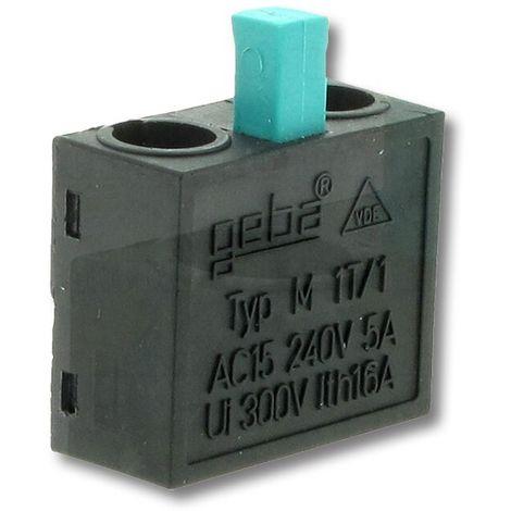 Schlüsselschalter GEBA Schalteinsatz / Mikro-Taster mit grünem Stößel (1 Schließer) Typ: M-1T/1S 600.MS01.00